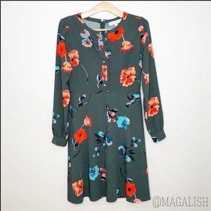 Loft dark green floral long sleeve dress